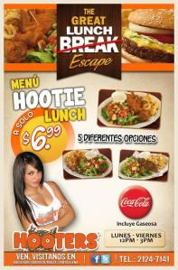 Menu HOOTIE lunch mas coca cola gracias a HOOTERS