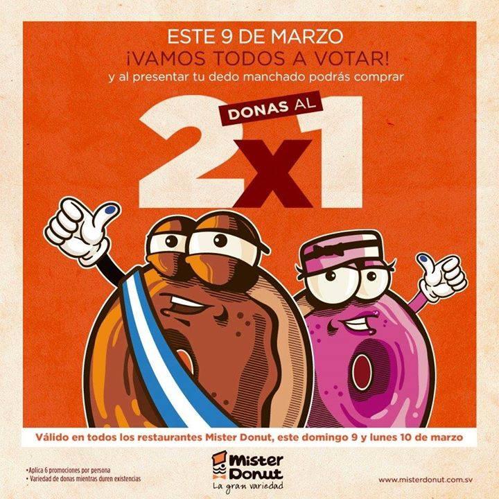 Mister Donut 2x1 al votar presenta dedo manchado 9 y 10 marzo