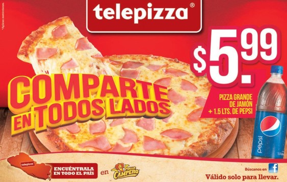 Pizza grande de jamon mas PEPSI gracias TELEPIZZA - 24mar14