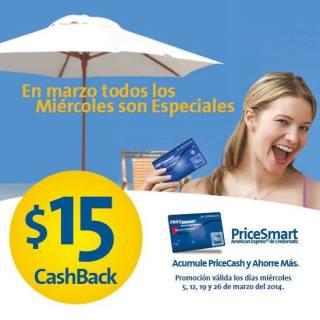 PriceSmart El Salvador 15 dolares cashBack