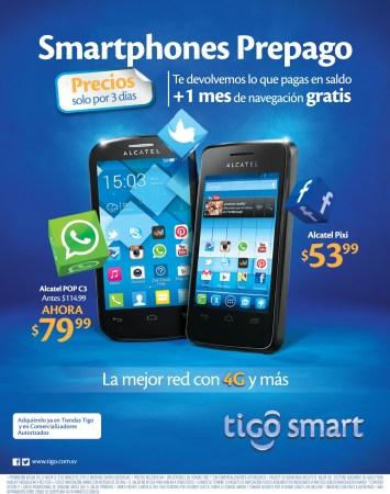 SMARTPHONE prepago ofertas TIGO ALCATEL Pixi POP C3 - 06mar14