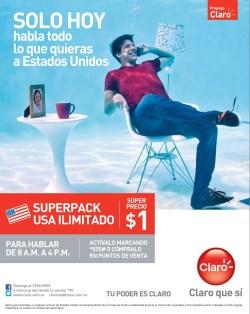 Superpack llamadas USA ilimitadas CLARO el salvador - 27mar14