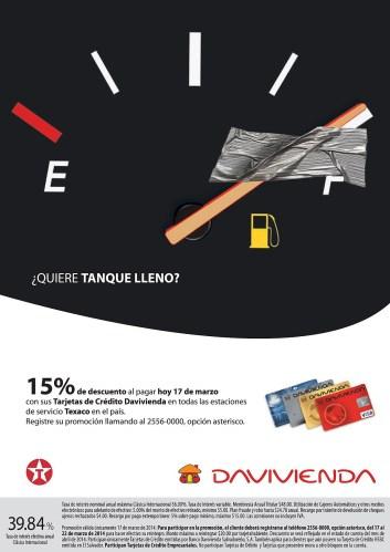Tanque lleno Gasolineras TEXACO tarjeta banco DAVVIENDA - 17mar14