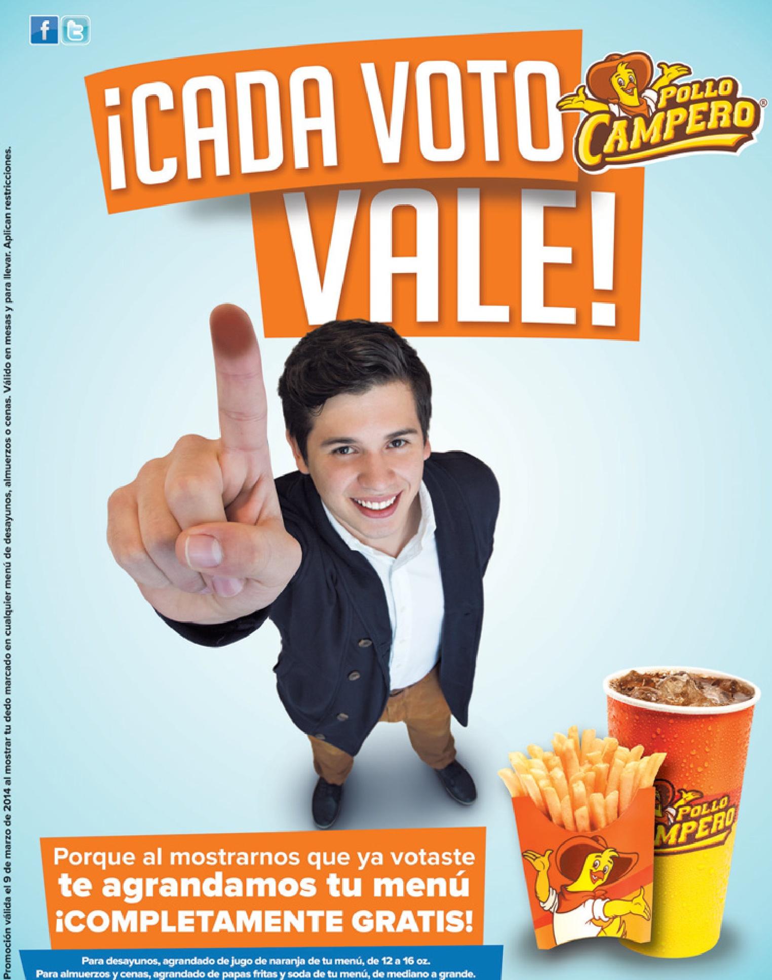 cada voto vale PROMOCION pollo campero - 09mar14
