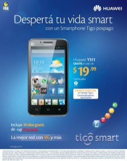 smartphone android HUAWEI Y511 disponible TIGO smart - 08abr14
