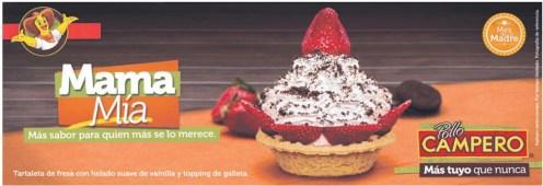 Mama Mia POSTRES tartaleta de fresa con helado de vainilla topping de galleta