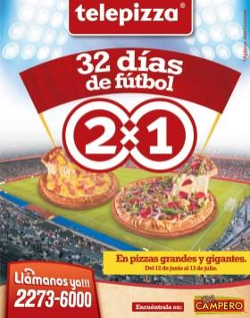 Promocion mundialista TELEPIZZA 32 dias pizza 2x1