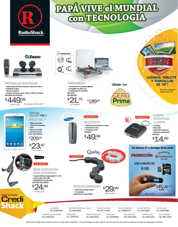 Promociones RADIOSHACK sv Tornamesa digital Sistema de seguridad video - 27jun14
