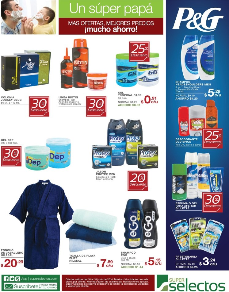 Super Selectos Descuentos especiales en productos para PAPA - 16jun14