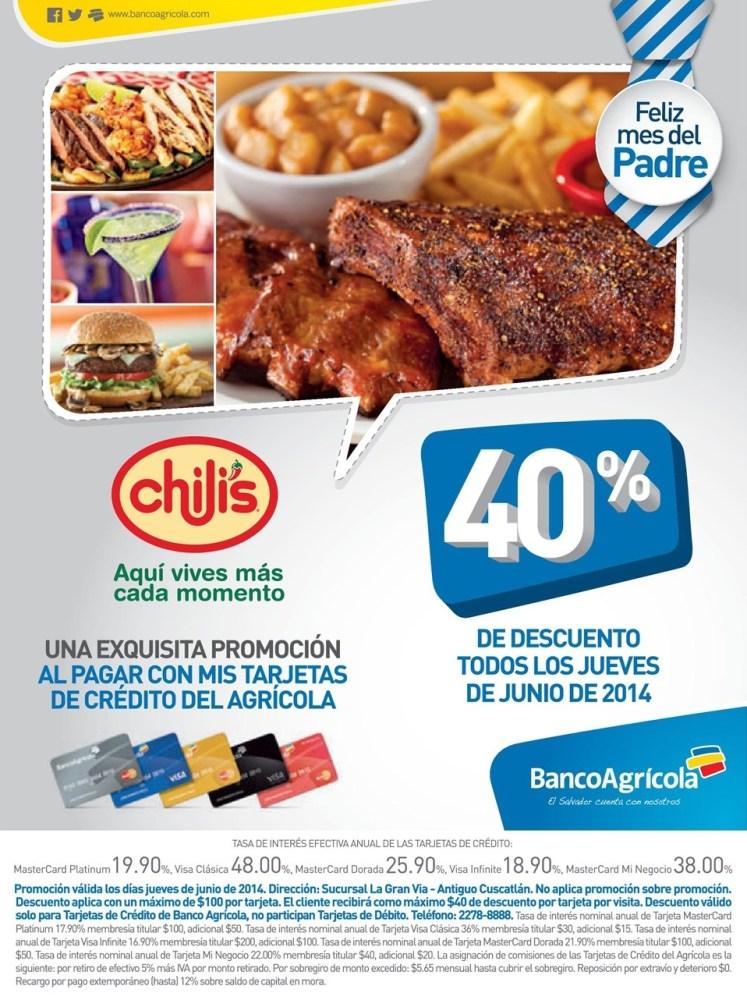 UNa exquisita promocion DESCUENTO restaurante CHILIS - 19jun14
