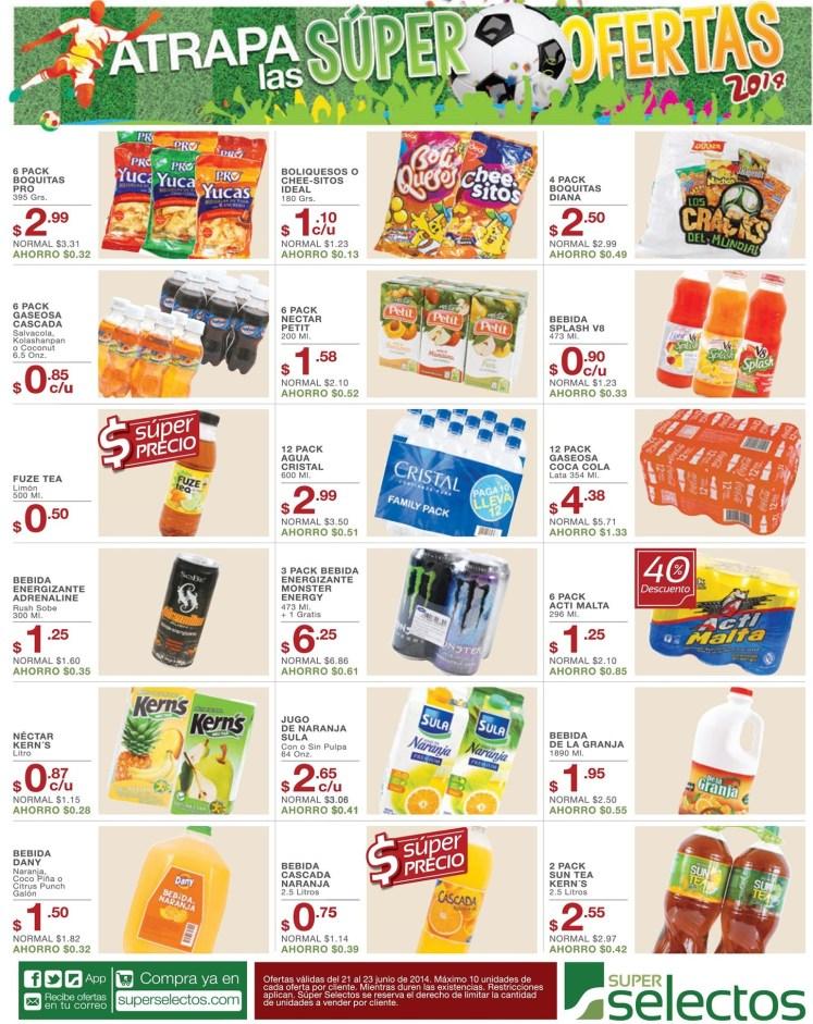 bebidas energizantes jugos snacks OFERTAS super selectos - 21jun14