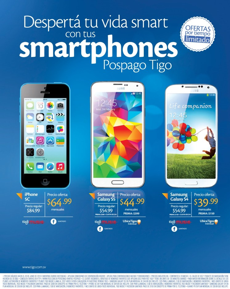 iPhone 5c PROMOTION tigo smart - 25jun14