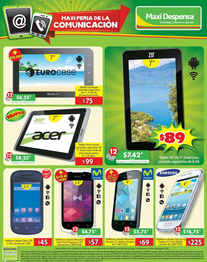 Maxi Despensa PROMOCIONES en tablets moviles celulares