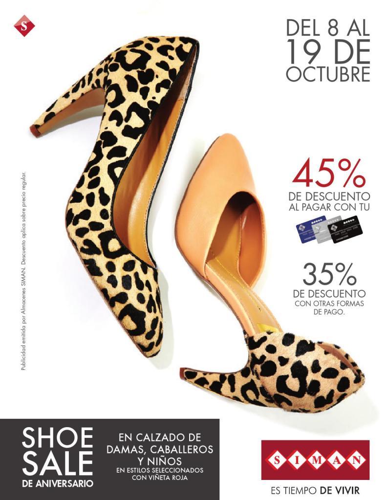 CALZADO para damas caballeros y niños SIMAN shoe sale octubre 2014