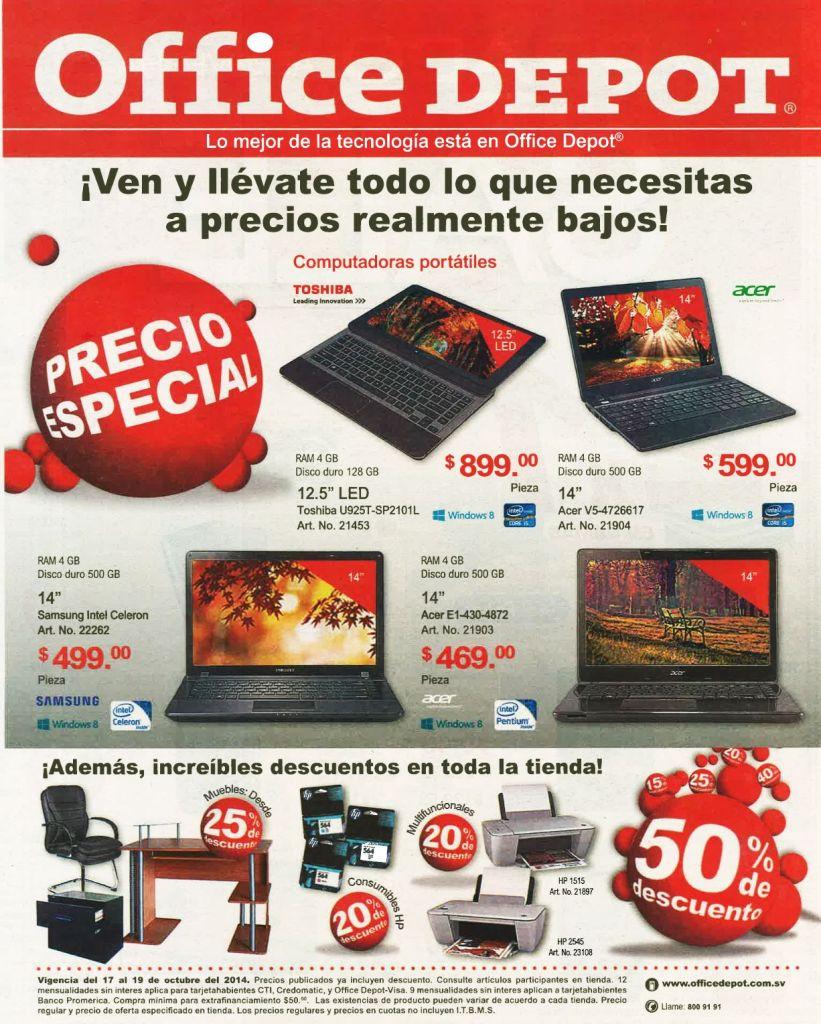 Descuentos en toda la tienda OFFICE DEPOT ofertas computadoras portatiles - 17oct14