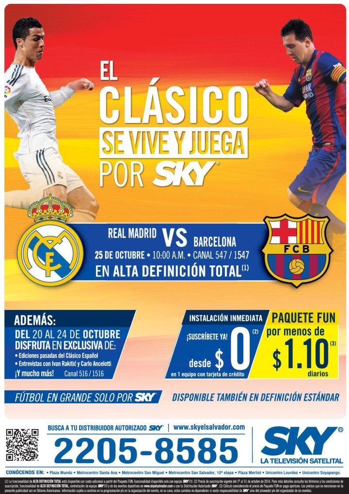 Donde ver el CLASICO español Real Madrid vs Barcelona SKY satelite tv