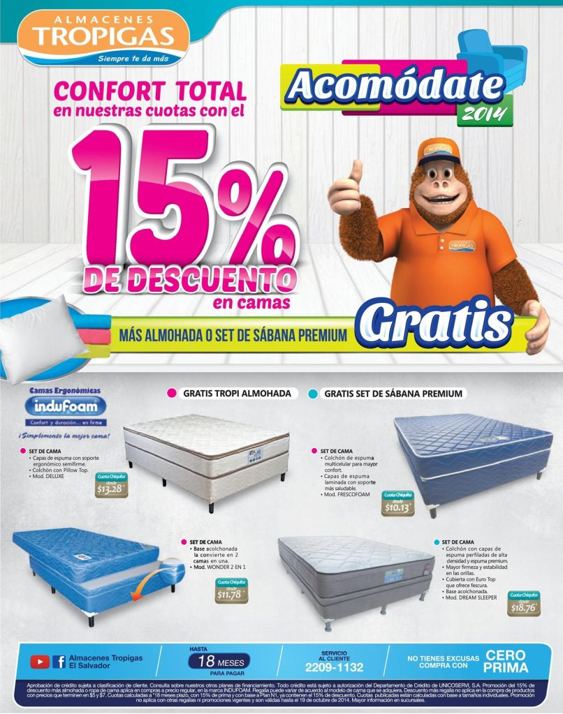 Es hora de acomodarte en una buena cama DESCUENTOS almacenes tropigas - 16oct14
