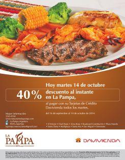 Super descuento al instante en restaurante LA PAMPA - 14oct14