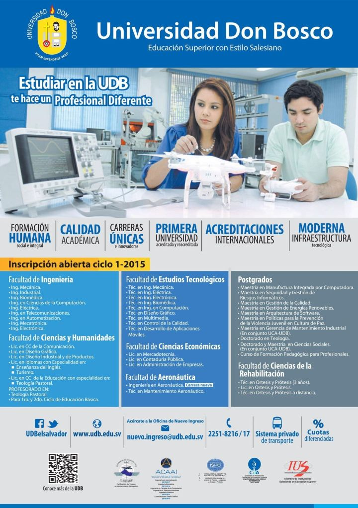 Universidad Don Bosco profesional carreras tecnicas acreditaciones internacionales