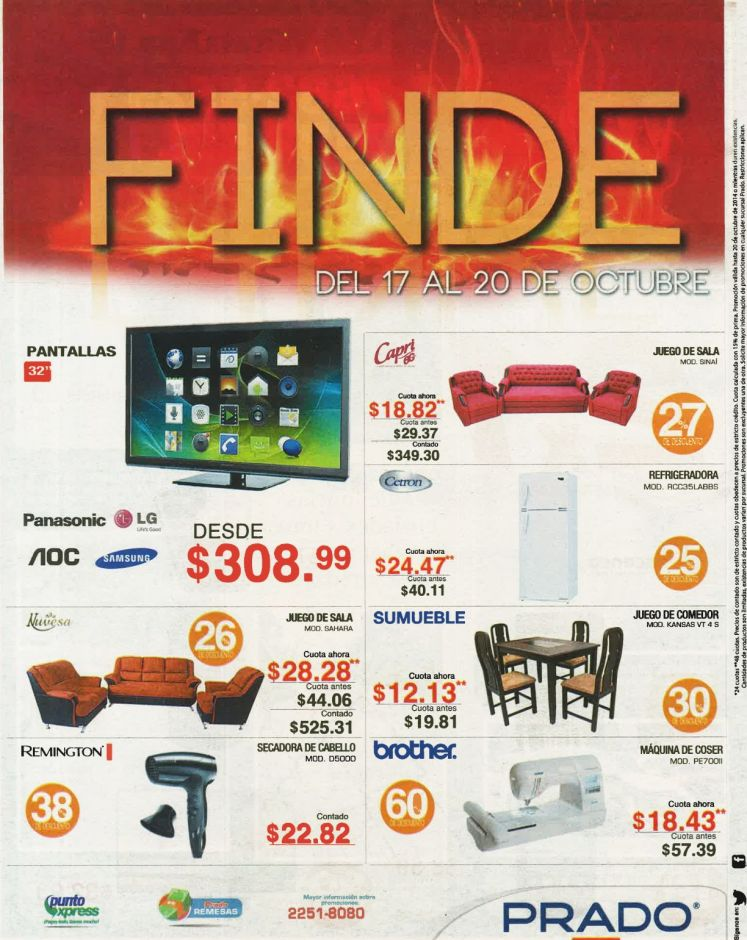 ofertas PRADO FIN DE semana muebles electrodomesticos y mas - 17oct14