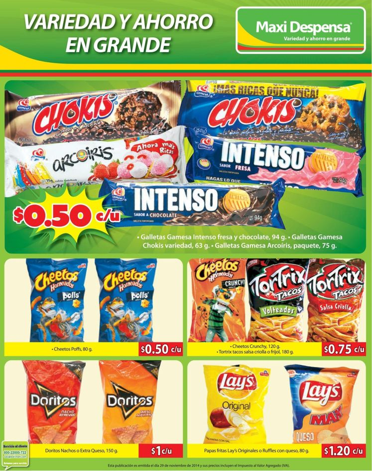 Gallestas y Snacks ofertas super max despensa - 29nov14