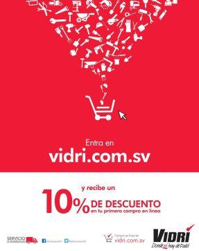 ONLINE discounts VIDRI.com.sv en tu primera compra - 04nov14
