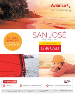 Promociones AVIANCA destino san jose costa rica - 10nov14