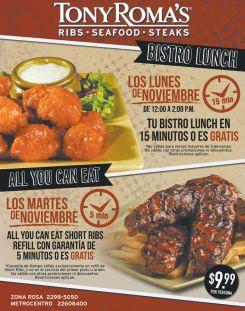 Promociones TONY ROMAS para comer en noviembre - 10nov14