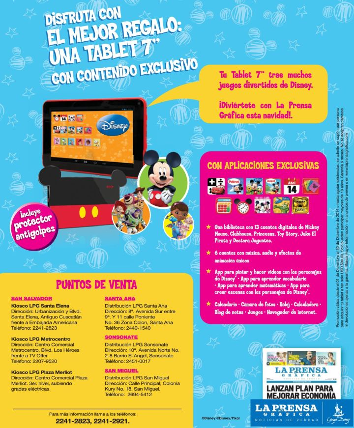 TABLET con contenido exclusivo DISNEY - 24nov14