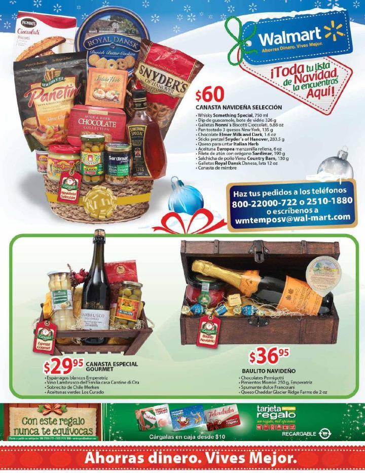 WALMART promociones 2014 en canastas con vinos y snacks