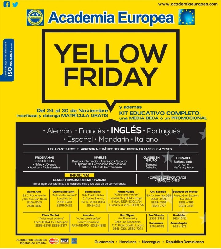 YELLOW FRIDAY discounts academia europea - 18nov14