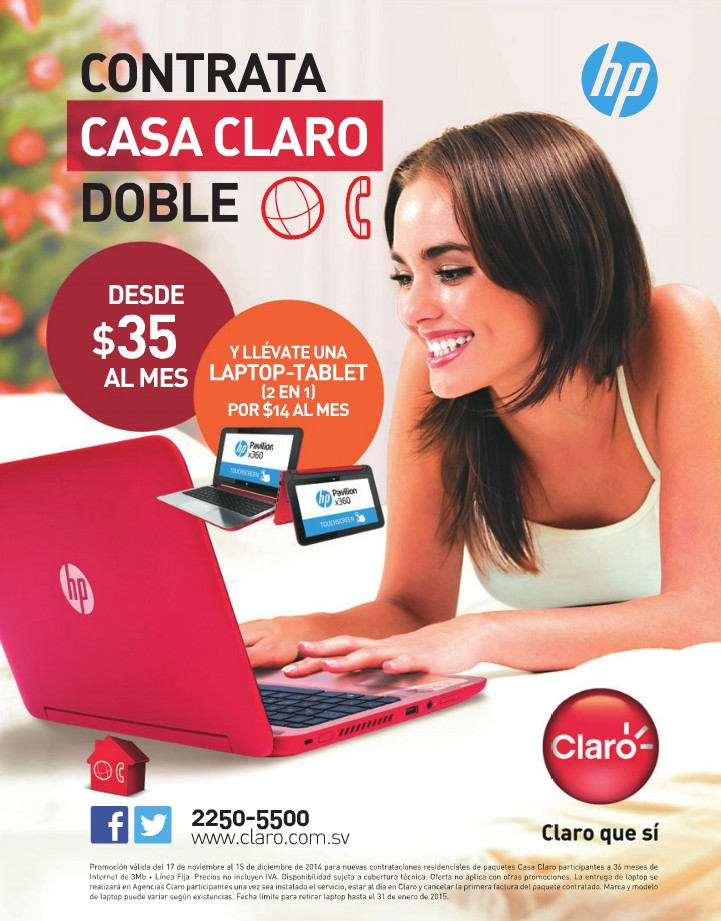 LAPTOP and TABLET HP promociones CASA CLARO - 10dic14