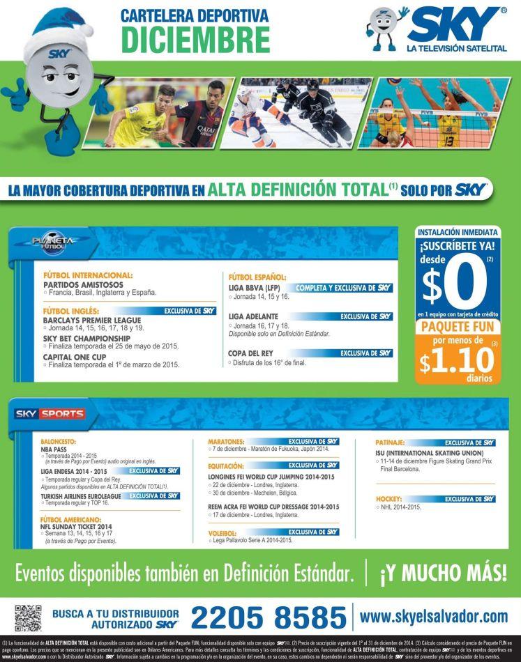 cartelera deportiva SKY tv satelital - 01dic14