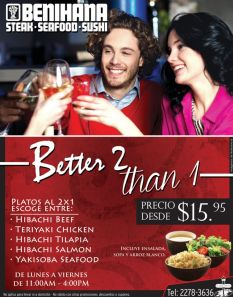 Better 2 than 1 PROMOTION Benihana La Gran Via - 28ene15