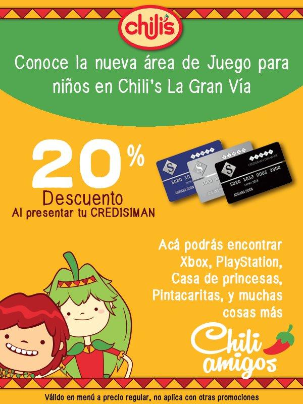Restaurante CHILIS descuento con CREDISIMAN