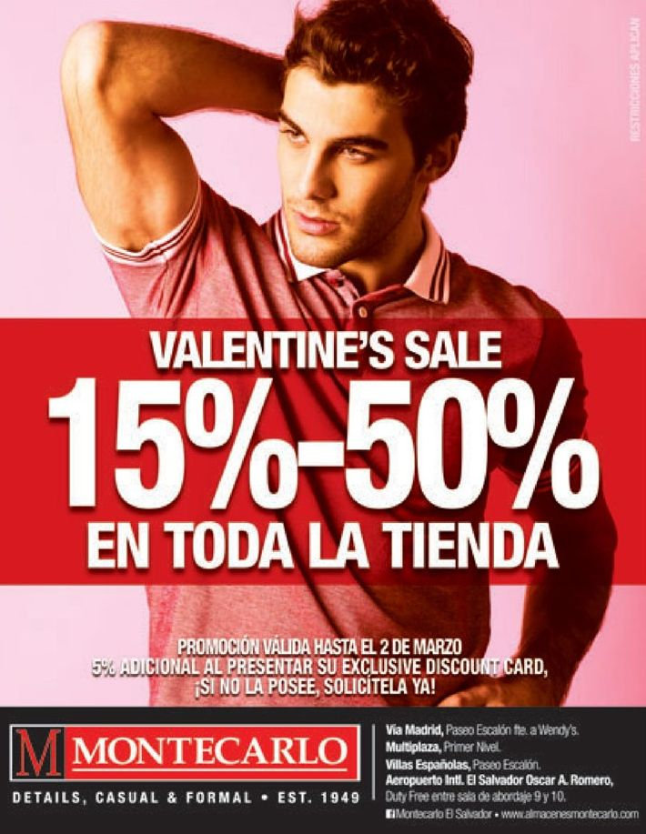 VALENTINES sale for men apparel - 30ene15