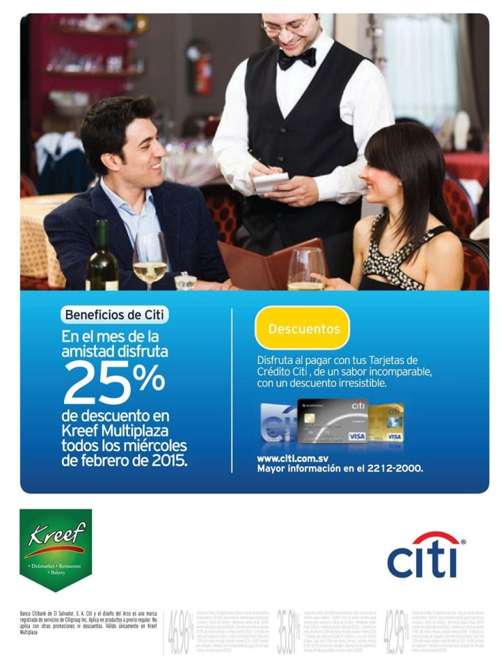cena romantica KREEF multiplaza descuento citi bank - 10feb15