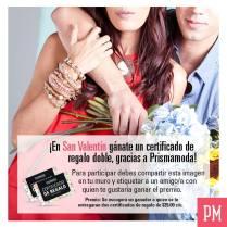 certificado de regalos SAN VALENTIN prisma moda - 07feb15