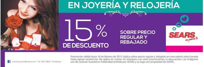 joyeria y relojeria descuentos sears - 07feb15