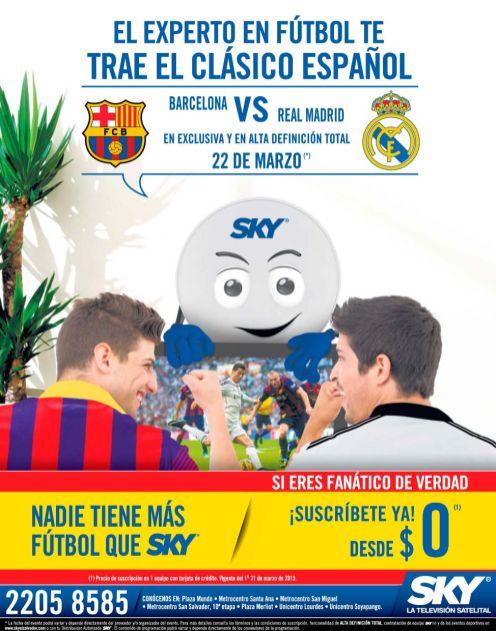 DONDE ver el clasico espanol este Domingo 22 de marzo de 2015