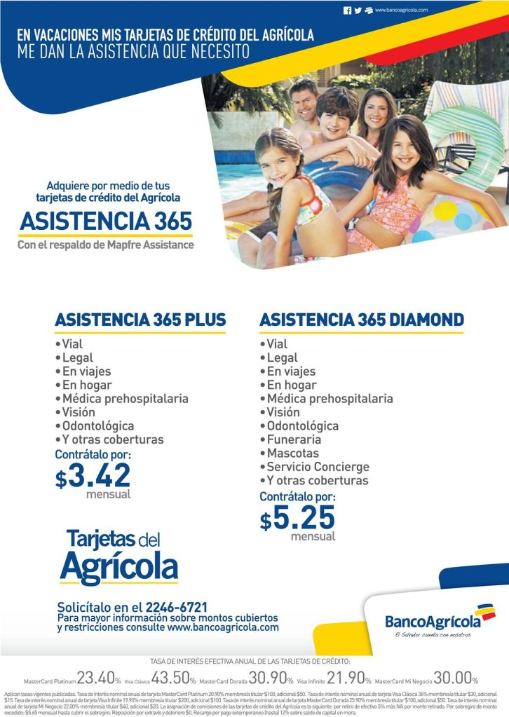 Insurance for you family on vacations BANCO AGRICOLA - 25mar15