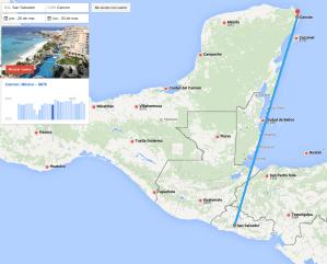 Mapa de vuelo cancun mexico en semana santa
