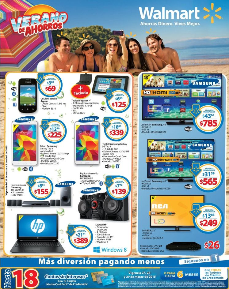 WALMART mas descuentos en smartphone TV LED smart TV laptop DVD - 27mar15