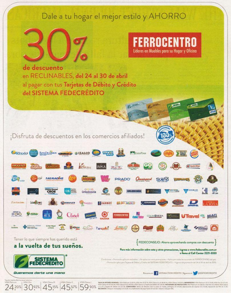 Adquieres hasta 30 OFF en ferrocentro programa de descuentos FEDECREDITO - 24abr15