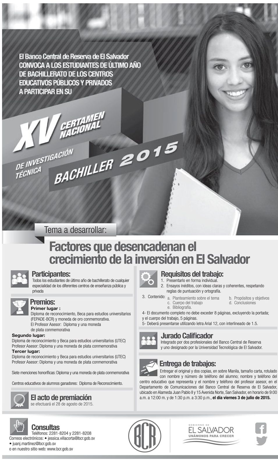 Certamen nacional de investigacion tecnica 2015 gracias a BCR el salvador
