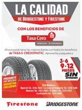 Comprar llantas nuevas FIRESTONE and BRIGESTONE con cuotas tasa cero