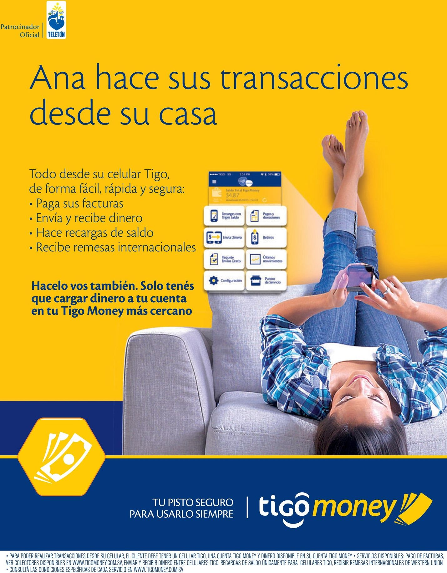 Electronic pays from your home and smartphone TIGO MONEY
