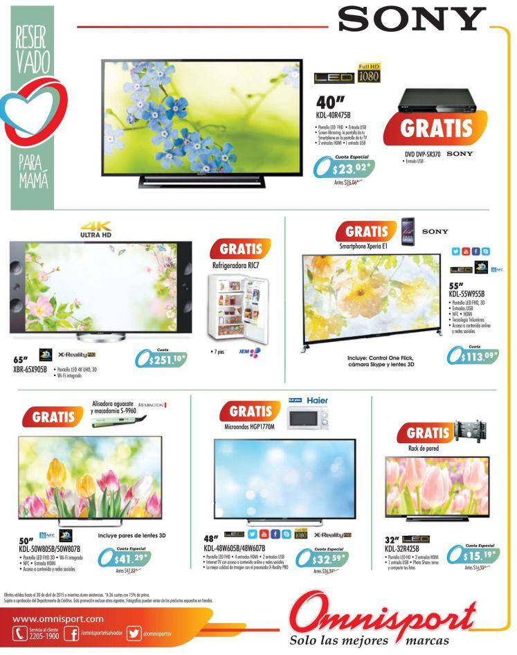 OMNISPORT Comprar pantallas y televisores SONY y todos tiene regalo - 17abr15
