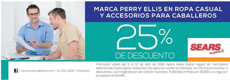 PERRY ELLIS apparel collection con 25 off gracias a SEARS