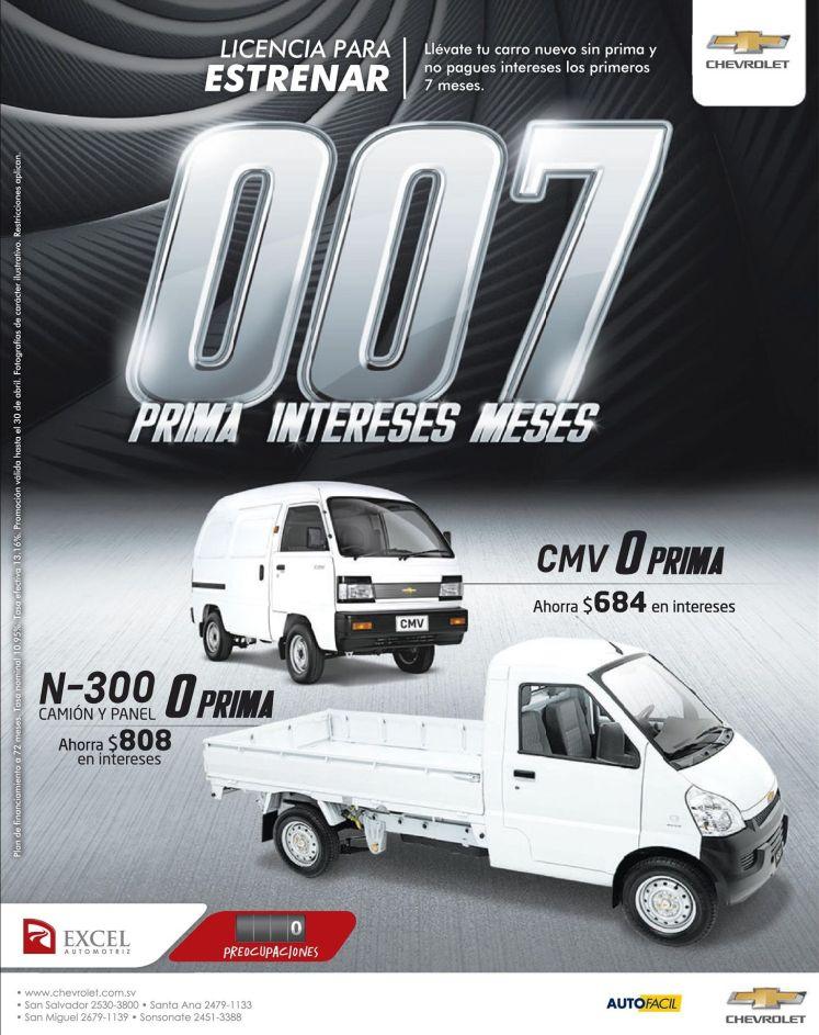 Panelitos y camiones CHEVROLET cero prima